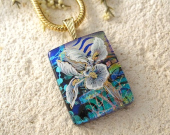 Cobalt Rainbow Iris Necklace, Fused Glass Jewelry, Dichroic Glass Jewelry, Gold Necklace,Flower Necklace,  Blue Dichroic Pendant 040815p103