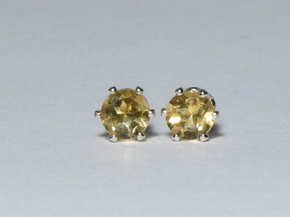 """4mm Faceted Natural Citrine Post Earrings in Sterling Silver (.16"""")"""