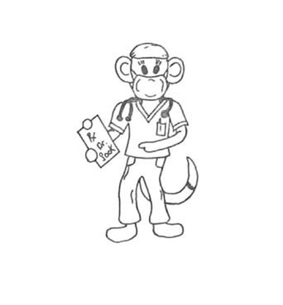 SUPER CLEARANCE Dr. Doctor Sock Monkey Rubber Stamp