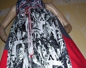 Black White Zombie Dress Geek Cotton Zombie Red Gray Dead Walker Sundress Halloween Party Costume Dress Adult M L XL XXL