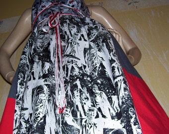 Black White Zombie Dress Geek Cotton Zombie Red Gray Dead Walker Sundress Halloween Party Costume Dress Adult M L XL XXL