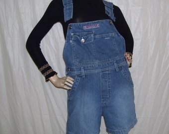 Silver Brand Bib Overall Jean Shorts Belt Loops 80's vintage Faded Jeans bibs shorts Cotton Made in Canada Adult M 36W
