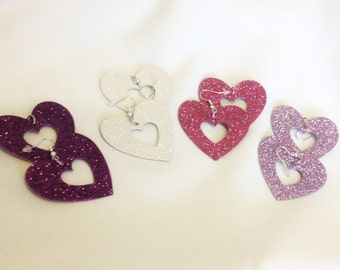 Sweet Hearts for your sweetheart Glitter hearts  Choose your glitter color