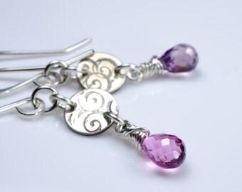 Pink Lavender Quartz Silver Swirl Earrings