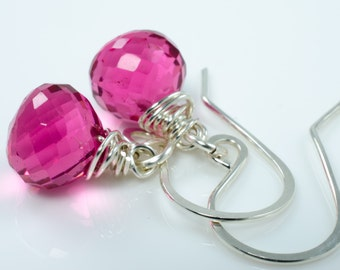 Hot Pink Quartz Briolettes Sterling Silver Earrings