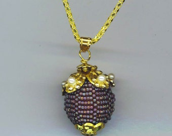 Beadwoven Floral Pendant .Pearl Flowers Golden Cap . 25 mm x 20 mm Purple Beaded Bead. Snake Chain- Magical Flower by enchantedbeads on Etsy