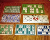 Seven Vintage Lotto Keno Game Cards- All Different