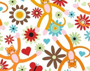 SALE Wendy Slotboom XOXOXO The Cat, Small Cats Orange FLANNEL Fabric - 1 Yard