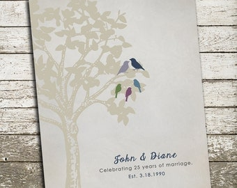 25th Anniversary Gift for Parents - Silver Gift - Personalized Print with Birds in a Tree - Custom Art