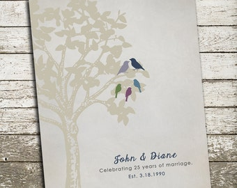 25th Anniversary Gift for Parents - Silver Gift - Personalized Family Tree Print with Birds - Custom Art