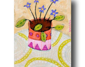 ORIGINAL acrylic painting AFRICAN VIOLETS folk art plant on table cute flowers by Tascha