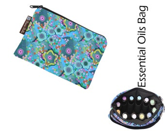 Essential Oils Take Along Bag by Borsa Bella - Waterproof lining fabric - Sea Flowers Fabric
