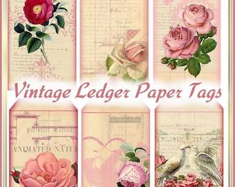 Vintage Roses Paper Ledger Tags Altered Art Shabby Cottage Chic INSTANT DOWNLOAD Digital Printable