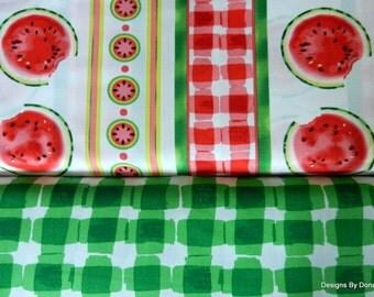 2 Piece 1 Yard Bundle Quilt Fabric, Mad for Melon, Watermelon Stripes, Green Plaid by Maria Kalinowski 4 Kanvas, Sewing & Quilting Supplies
