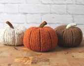 Knit Pumpkins, Halloween Decor, Pumpkin Decor, Knit Stuffed Pumpkins, Fall Decor, Rustic Halloween Decor, Thanksgiving Decor