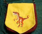 Pouch Spare Pocket Embroidery Dinosaur Velociraptor