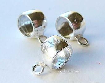 925 Sterling Silver Beads Charm Holder Fit 3mm Bracelet F376- 3 pcs