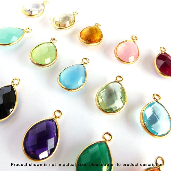16mm Tear Drop Gold Bezel Gemstone Charm Pendant F382- 6 pcs Choose your color