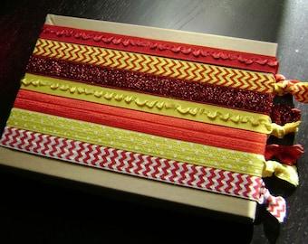 Red and Yellow Chevron Glitter and Ruffle Headbands ... 7ct.
