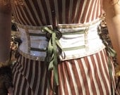 Silver Buckle White With Olive Trim Belt