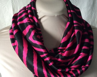 Pink Zebra Print Knit Infinity Scarf - Circle Scarf - Tube Scarf
