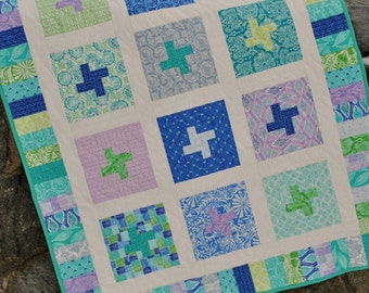 Patchwork Baby Quilt Pattern or Lap Quilt Pattern, uses Layer Cakes or Fat Quarters, Salty Air