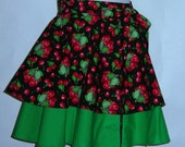 Half Apron With Ruffles- Cherries and Dots