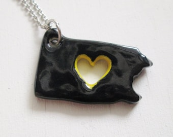 Black and Yellow Pennsylvania Love Necklace Glazed Ceramic on an 18 inch Silver Chain