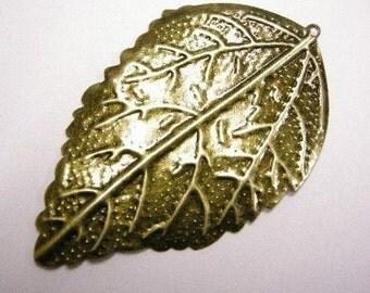 24pc antique bronze leaf pendant-W4243x4