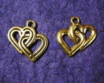 6pc antique gold finished lead free heart pendants-1830