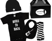 Punk Rock Baby Boy Rockstar Kit black creeper onesie leg warmers hat Bib Guitar Born to Rock Star leg warmers