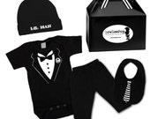 Formal Baby Boy Rockstar Kit black creeper onesie romper hat Bib Pants T-shirt shirt Tuxedo Wedding