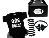 1st Birthday Rockstar Baby Kit Dress, Leg Warmers & Bow Headband