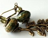 """Rhyolite Gemstone Earrings, Long Antique Brass Leaf, Green, Caramel, Crystals, 3"""" Long, Beaded Jewelry, Beaded Earrings, Earthtones"""