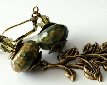 "Rhyolite Gemstone Earrings, Long Antique Brass Leaf, Green, Caramel, Crystals, 3"" Long, Beaded Jewelry, Beaded Earrings, Earthtones"