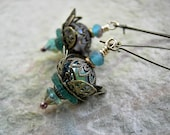 Aqua Flower Earrings, Mermaid Lotus, Sea Colors, Aquamarine, Caribbean Blue, Brass Filigree, Faery Couture, Elksong Jewelry