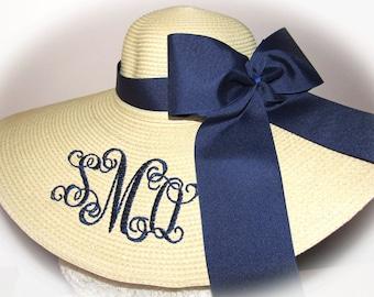 Monogrammed Natural Floppy Hat, Foxfield,  Carolina Cup,  Derby, Bride, Wedding, Honeymoon Bridesmaids, Sun, Beach, Derby, Cup Race,  Sun