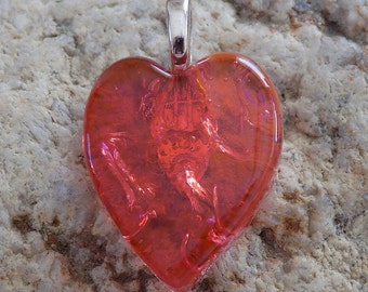 Coral Orange Hear Shape Pendant Fused Dichroic Art Glass - Jewelry