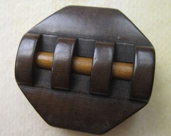 Vintage Wooden Button - Fancy Coat Focal