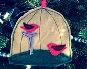 Green and Red Birdcage felt applique ornament