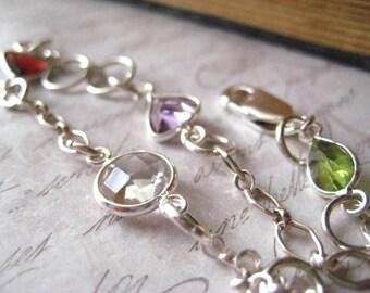 Gemstone bracelet, Sterling silver, Bezel connectors, Clear Quartz, Amethyst Gemstone, Peridot gem, Garnet red, Womens jewelry, candies64