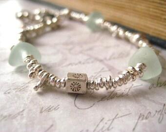 SALE 10.00 Off beach glass bracelet, fine silver, karen hill tribe, sterling silver, aqua sea glass, ocean tumbled, organic nugget