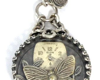 Butterfly Under Glass ...Silver ... Steampunk Butterfly Under Glass Pendant One of  A Kind