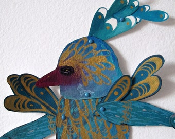 Turquoise Birdman Original Paper Doll Articulated / Hinged Beasts Series