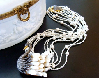 Freshwater Pearls Diamond Swan Pendant Torsade Necklace - Odette Necklace