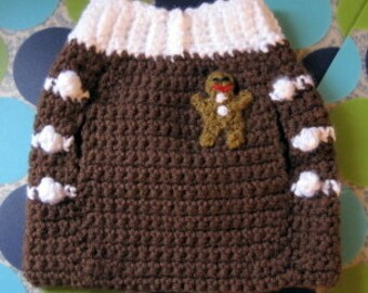 Custom Dog Sweater Vest - Gingerbread Man  - Size S - Made to Order