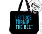lettuce turnip the beet ® - trademark brand - large canvas tote bag with logo - farmers market - DJ - dance - music - chef - funny