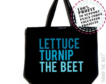 lettuce turnip the beet ® trademark brand OFFICIAL SITE - large canvas tote bag with logo - farmers market, dance, music, CSA, yoga, gym bag