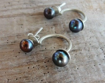 Sterling silver Double Pearl Earrings Pearl Ear Jacket Modern Pearl studs