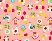HALF YARD -Chicken and Eggs on PINK - Farm, Chicken Coop, Flowers, Chick, Rooster, Sunflower, Yolk - Cosmo Textile Japanese Import Fabric